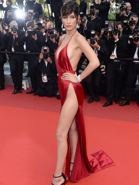 bella hadid it a red silky satin evening dress