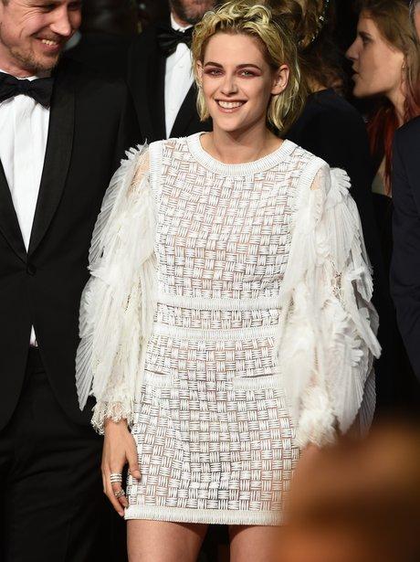Kristen Stewart with weird eye makeup at Cannes Fi