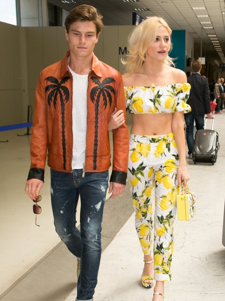 Pixie Lott wears a quirky lemon co-ord as she arri