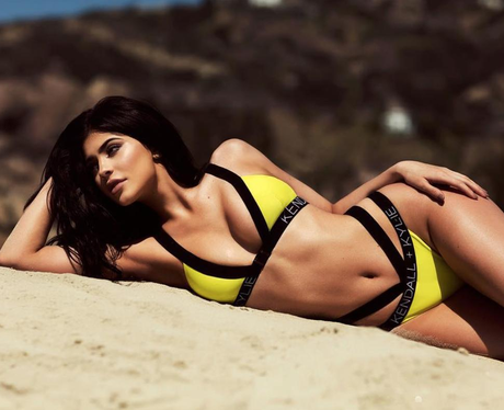 Kylie Jenner poses for Kendall + Kylie swimwear li