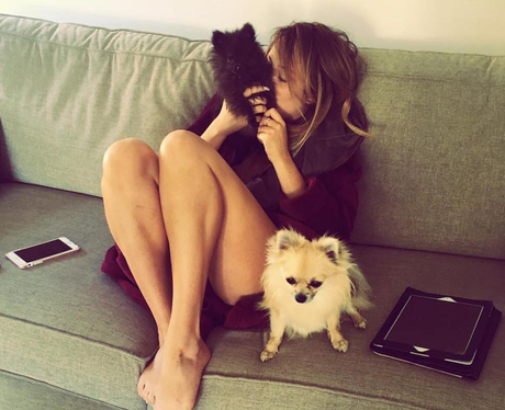 Charlotte Crosby cosies up with her pups