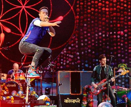 Coldplay play at the Etihad stadium