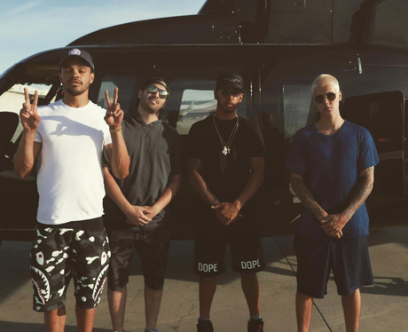 Justin Bieber and his squad including Lewis Hamilt
