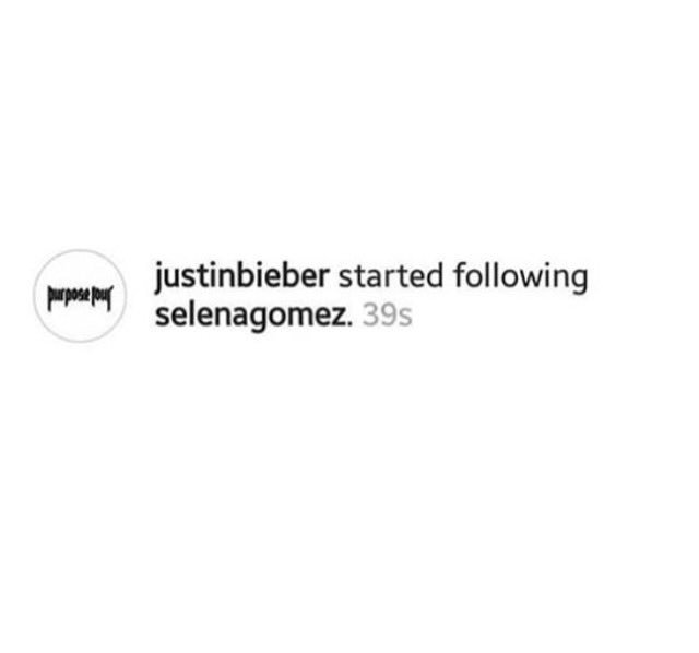 Justin Bieber followed Selena Gomez on Instagram