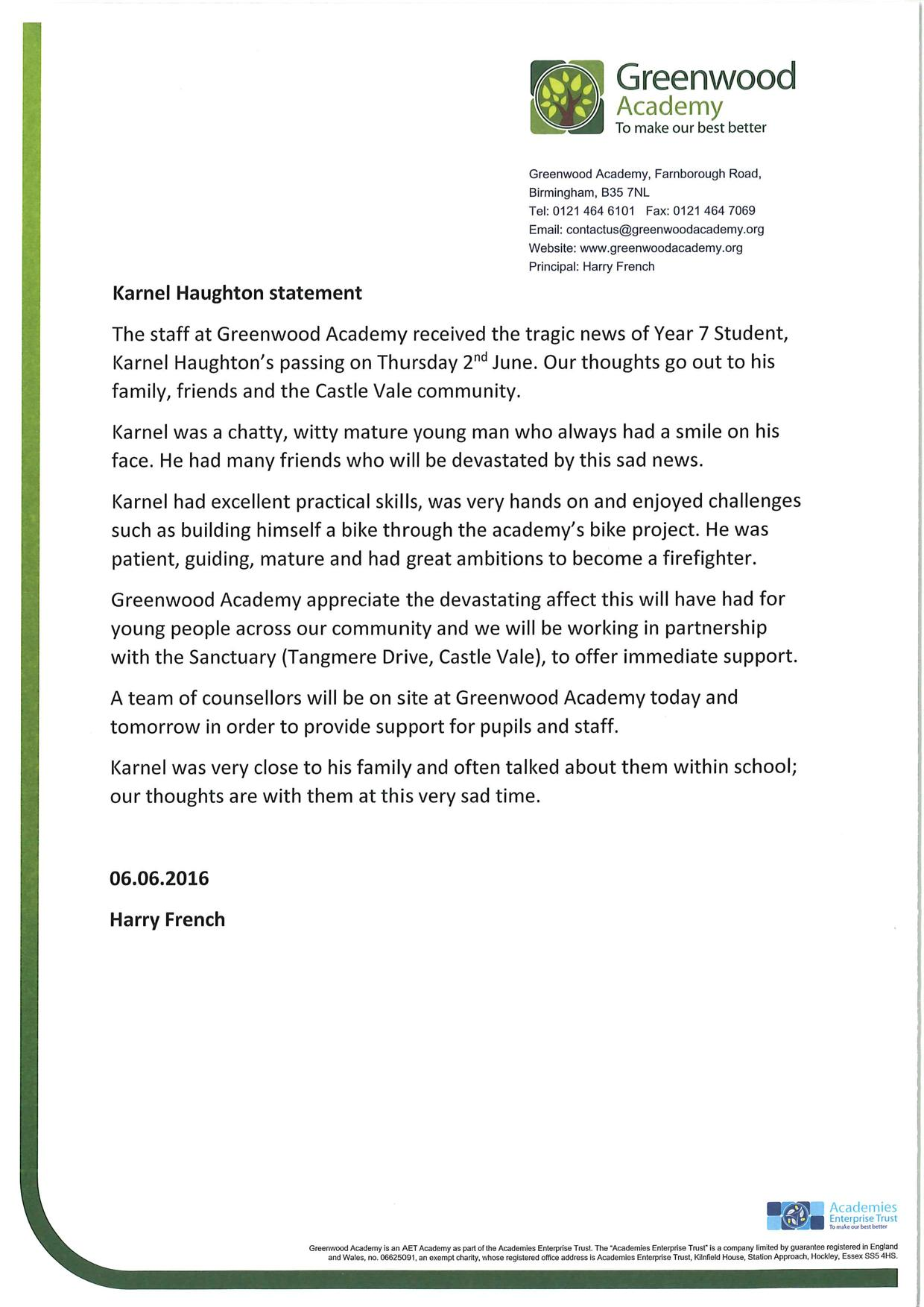Karnel Haughton school statement