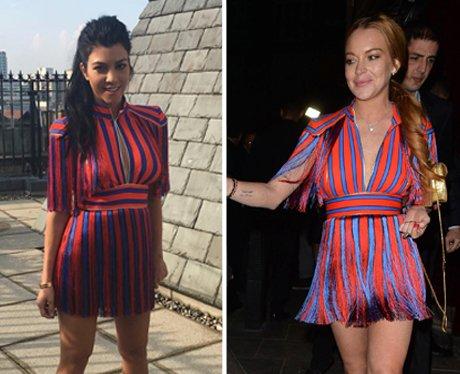 Kourtney Kardashian versus Lindsay Lohan in face f