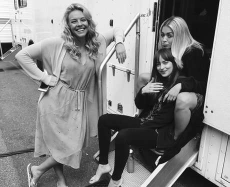 Rita Ora and Dakota Johnson on set of 50 Shades