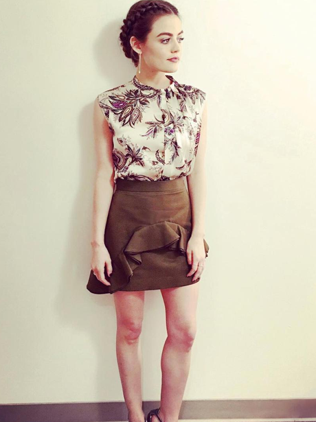 Lucy Hale looks incredible before press interviews