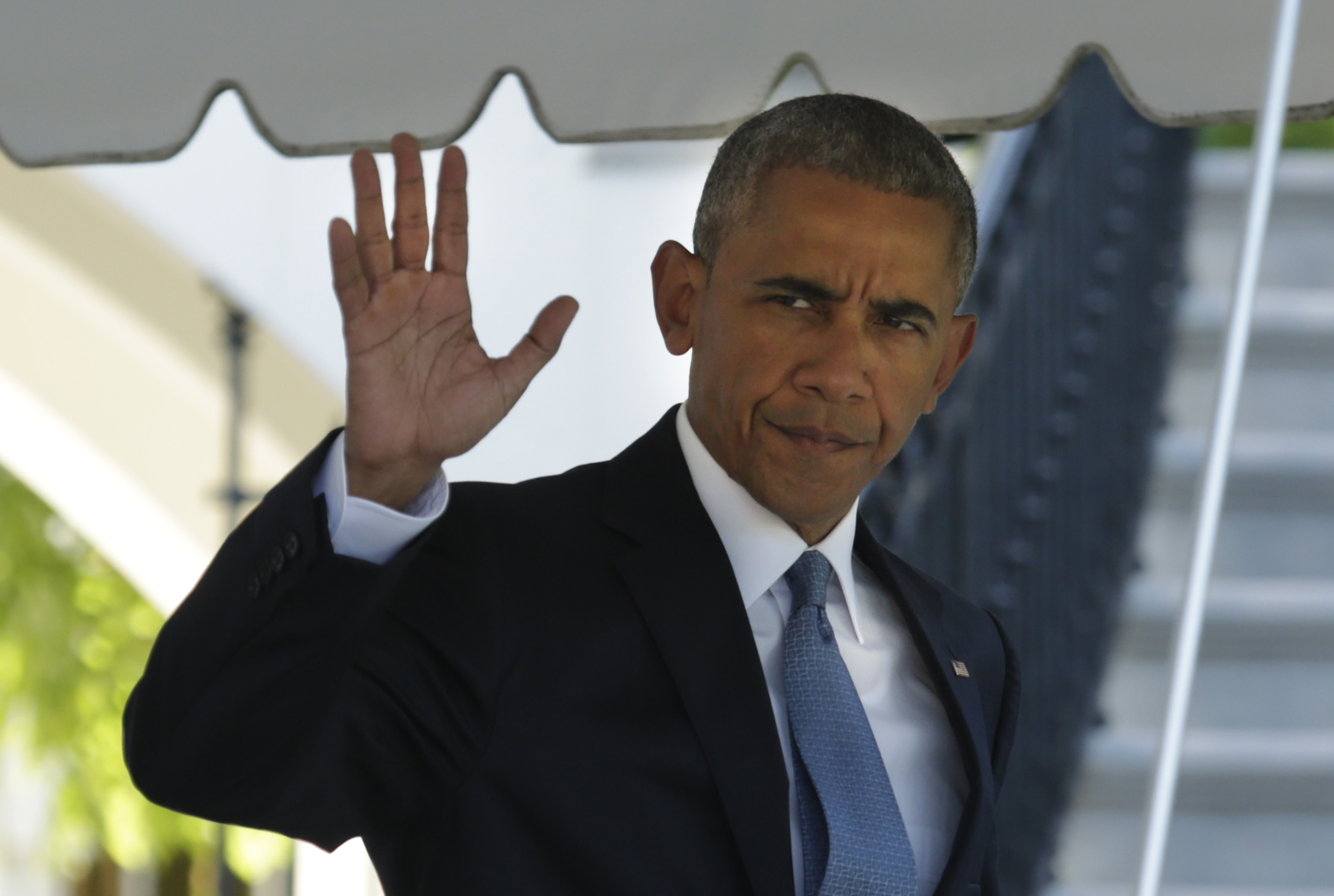 Barack Obama leaving the White House