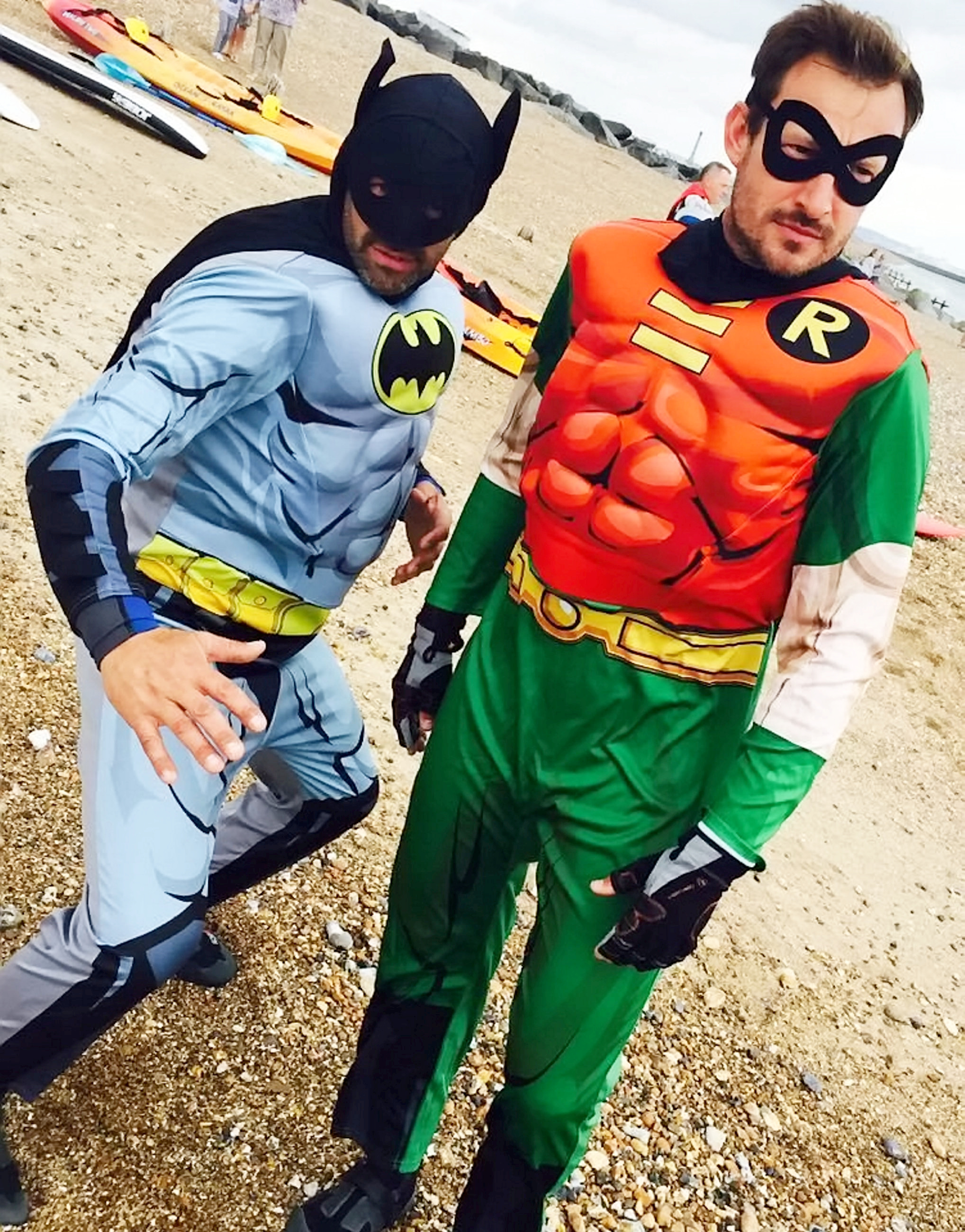 Batman and Robin save a drowning kitesurfer