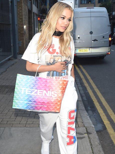 Rita Ora leaves recording studio