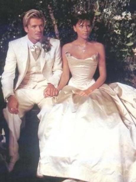 David and Victoria Beckham on their wedding day