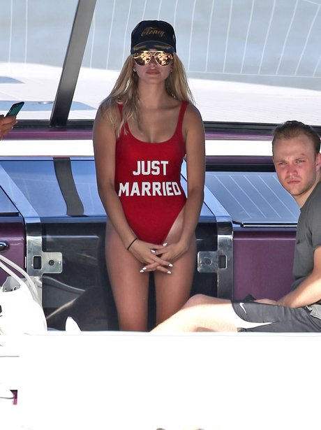Hailey Baldwin wears 'Just Married' swimsuit