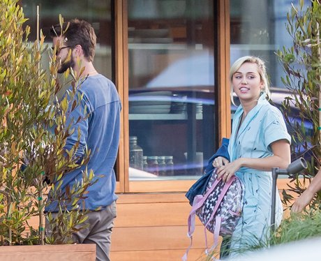 Liam Hemsworth and Miley Cyrus head for lunch at S
