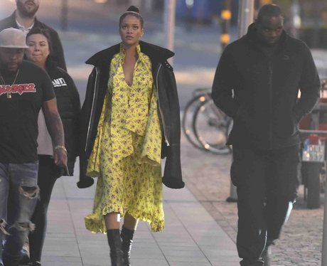 Rihanna wows on the sidewalk in brightly coloured
