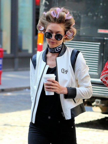 Gigi Hadid with hair curlers for photoshoot