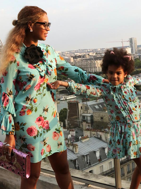 Blue Ivy and Mum, Beyonce, match in identical Gucc