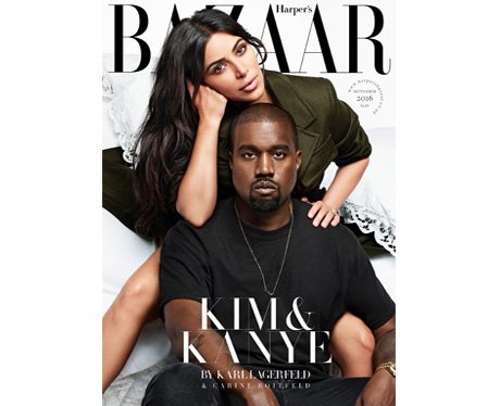 Kim Kardashian and Kanye West Harper's Bazaar cove