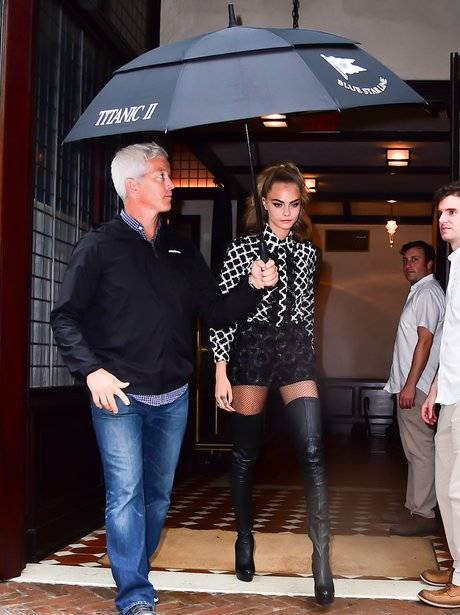 Cara Delevingne shows off her model legs in thigh
