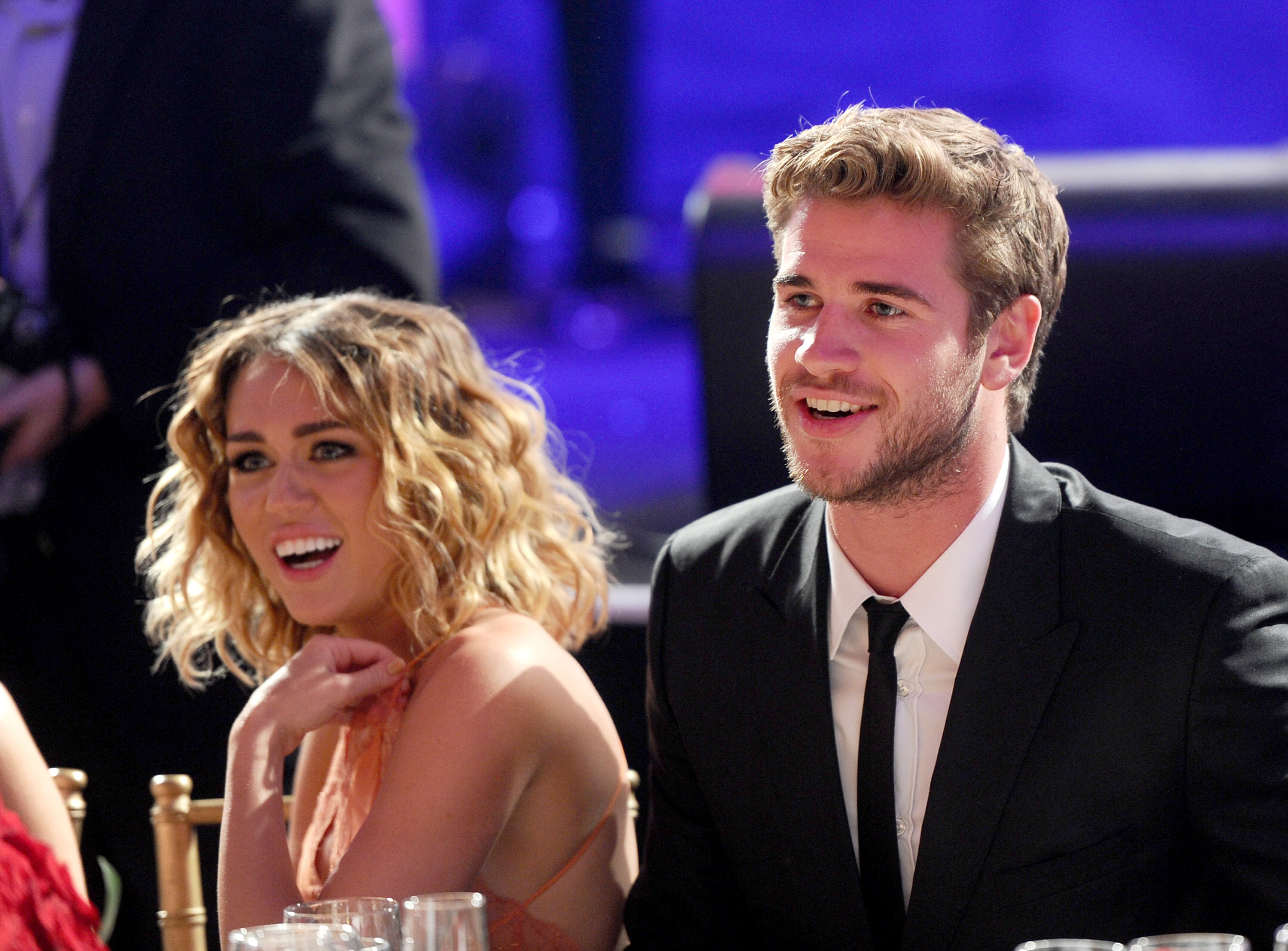 Miley Cyrus and Liam Hemsworth at Muhammad Ali's C