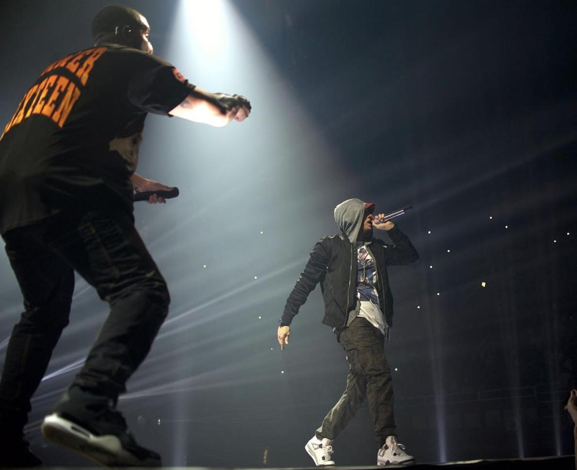 Eminem joins Drake on stage in Detroit