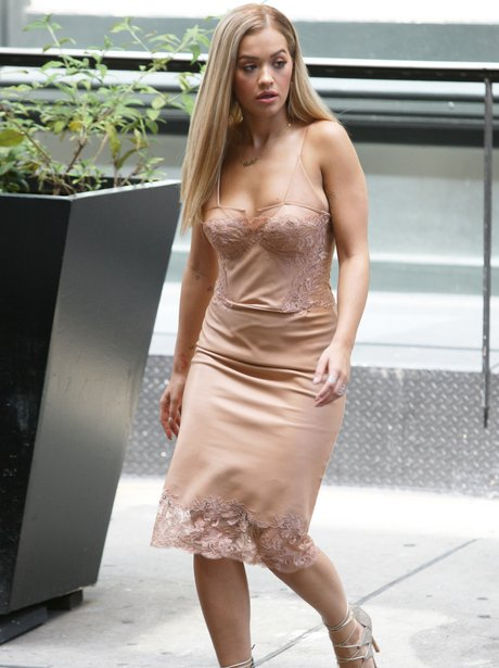 Rita Ora in nude lace dress