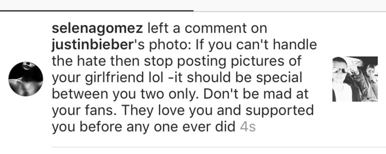 Selena Gomez Comment On Justin Bieber