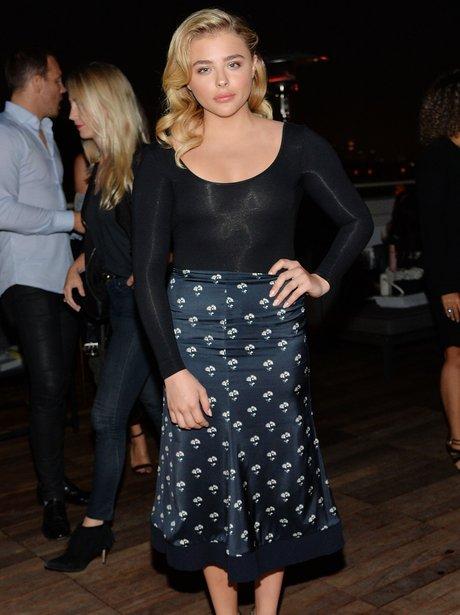 Chloe Grace Moretz in patterned skirt