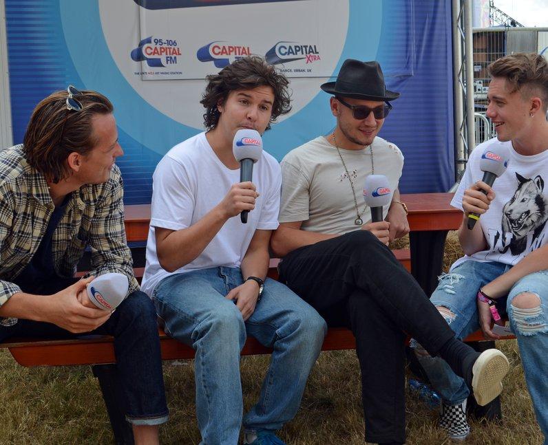 Lukas Graham and Roman Kemp backstage at V Festiva