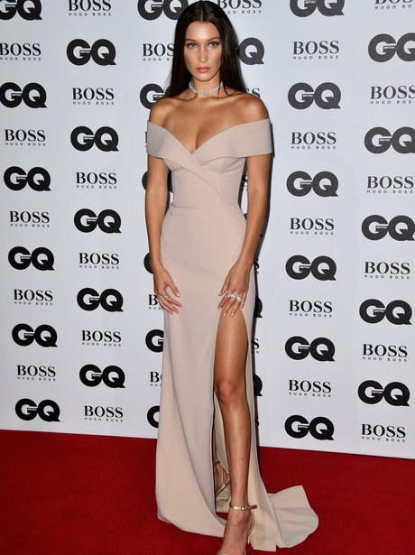 Bella Hadid stuns in nude fitted dress