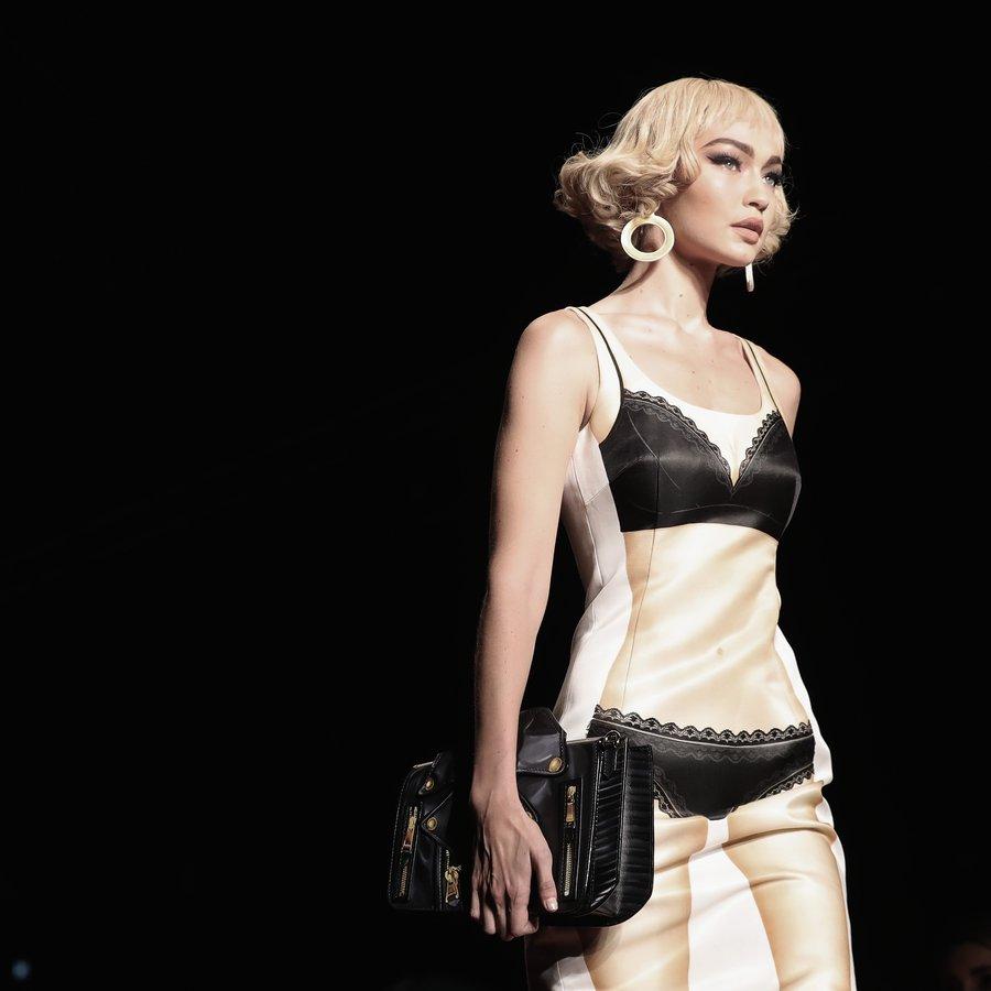 Gigi Hadid looks fierce at the Moschino S/S 17 show