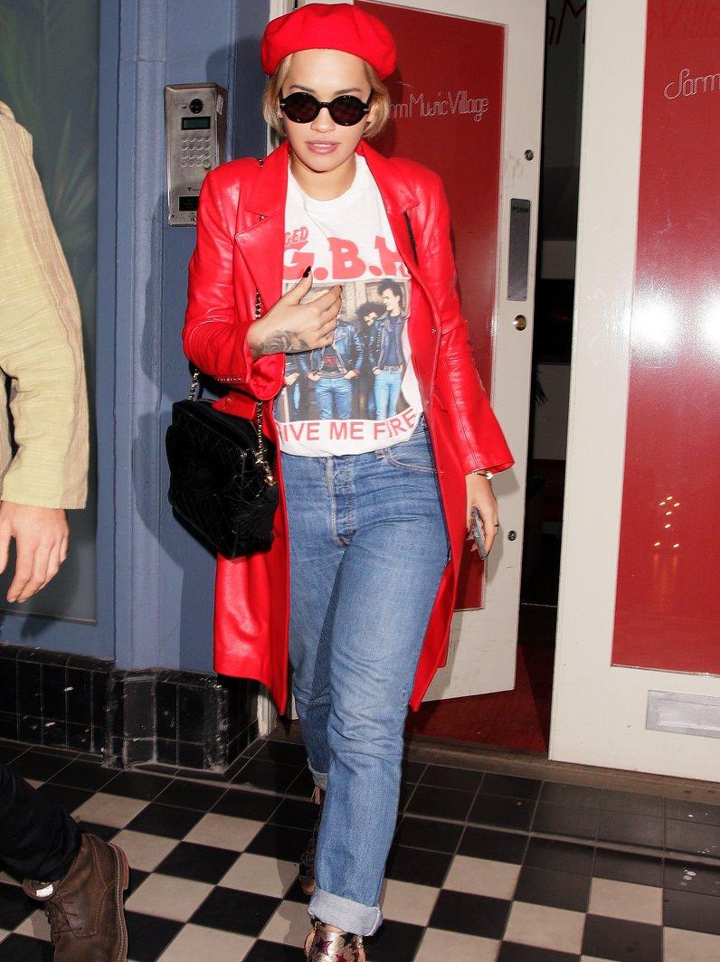 Rita Ora leaves recording studio in London