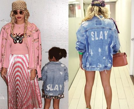 Beyonce and Blue-Ivy co-ordinate their slogan jack