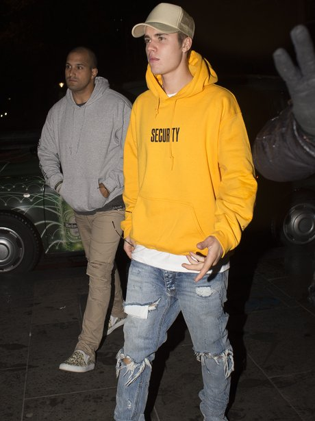 Justin Bieber in yellow Security Purpose tour merc