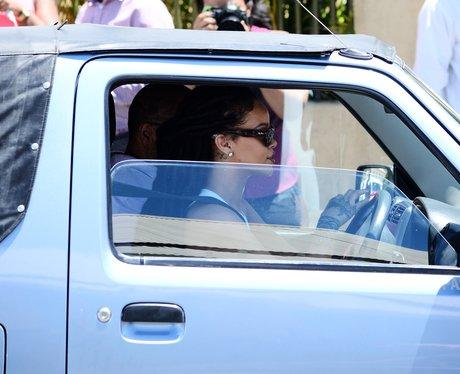 Rihanna attends family christening
