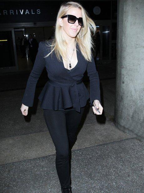 Ellie Goulding lands into LAX