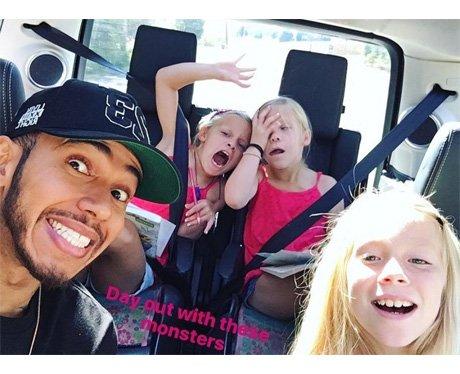 Lewis Hamilton takes Nicole Scherzinger's nieces o