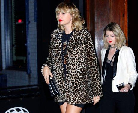Taylor Swift in leopard print coat
