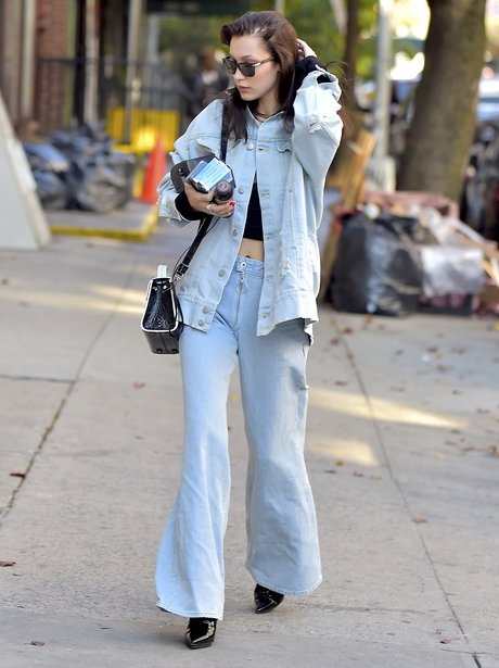 Bella Hadid wears double denim as she shows off he
