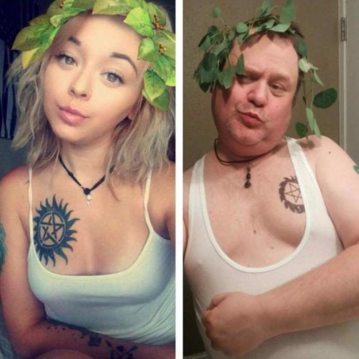 dad copies daughters instagram