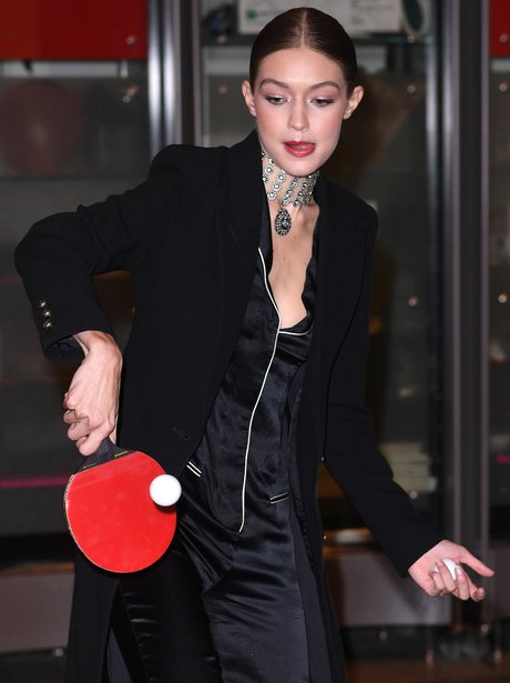 Gigi Hadid plays table tennis