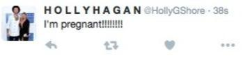 Holly Hagan pregnant tweet