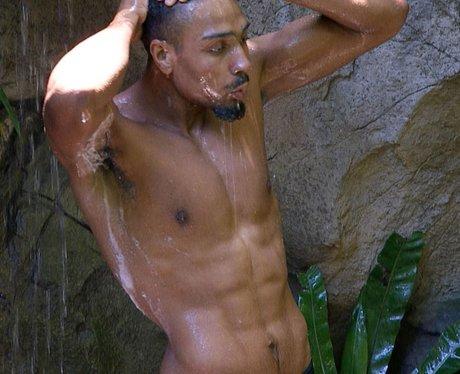 Jordan Banjo in the I'm A Celeb shower