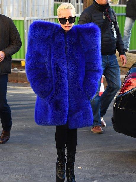Lady Gaga with big blue coat leaving Victoria's Se