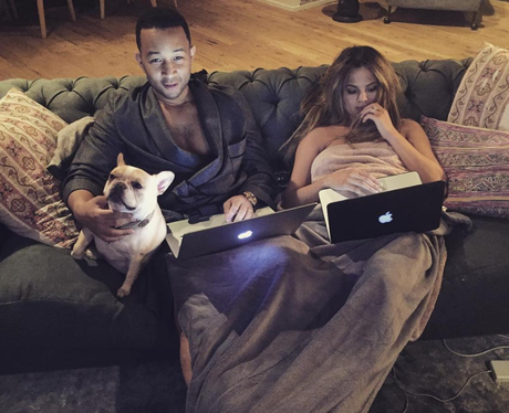 Chrissy Teigen and John Legend enjoy a quiet night
