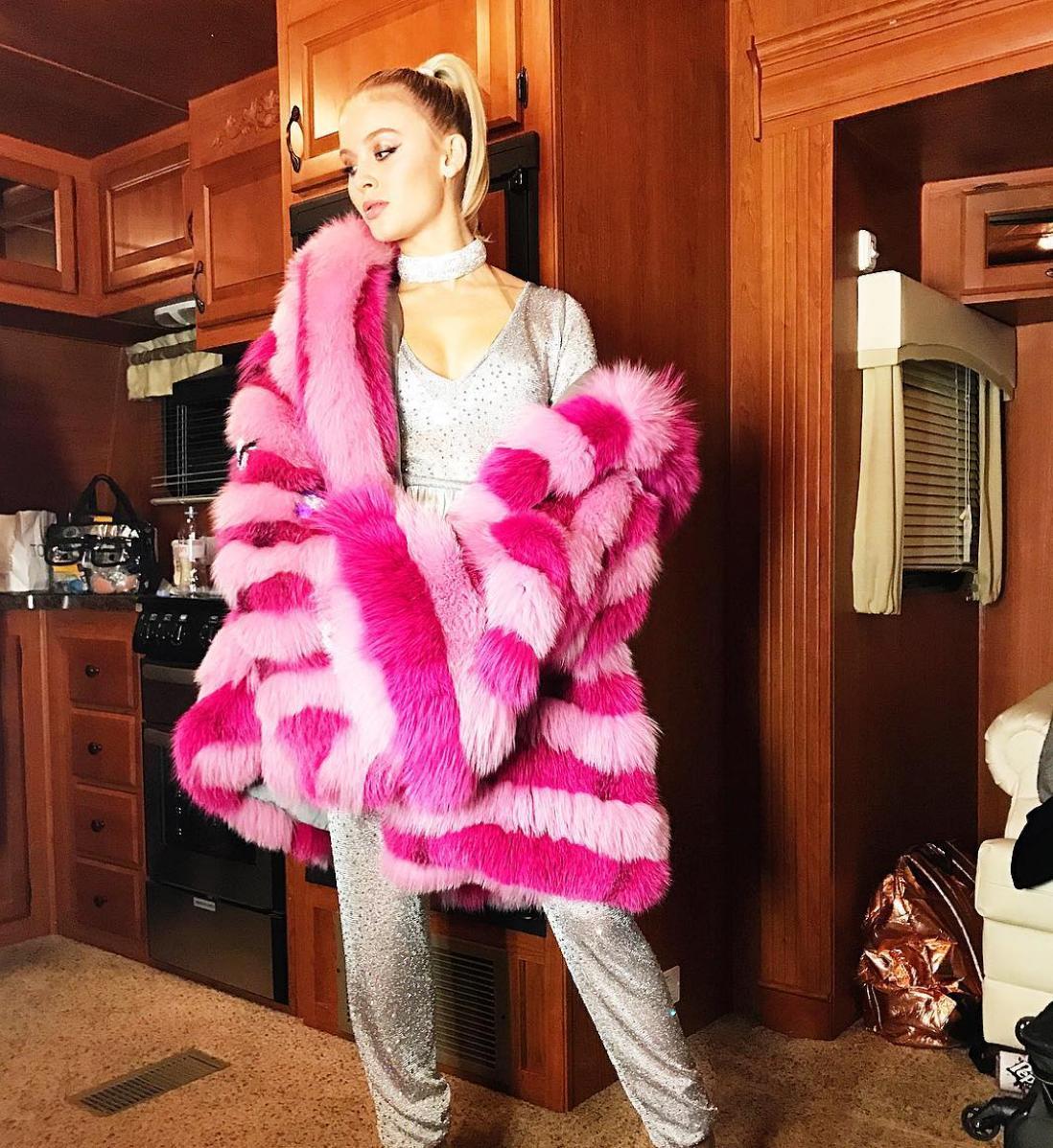 Zara Larsson Fur Coat