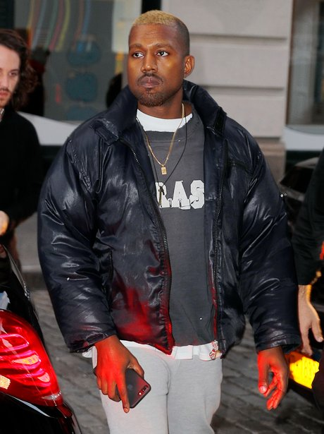 Kanye West steps out with new blonde hair