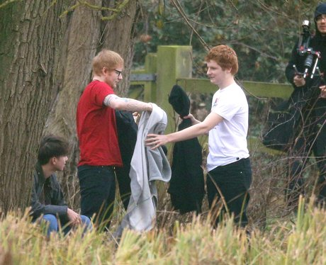 Ed Sheeran with his double on set