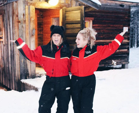 Perrie Edwards in Iceland for Christmas