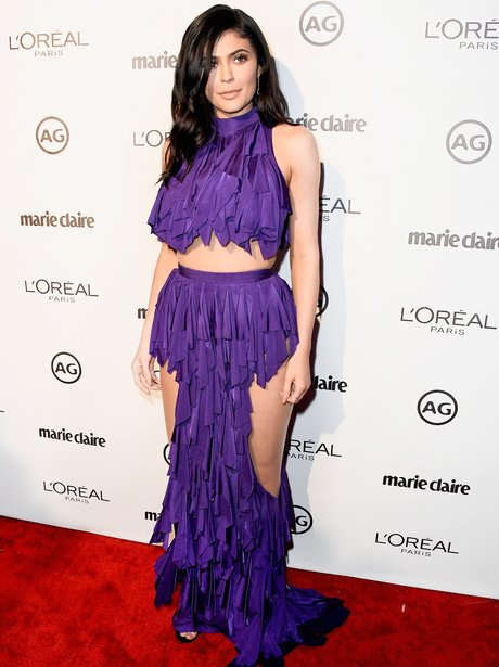Kylie Jenner wows in revealing purple Balmain dres